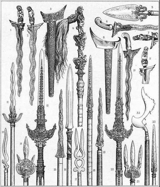 A vintage print showing various Indonesian knives and spears.