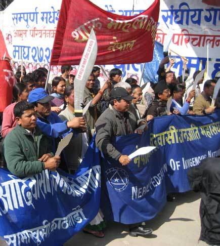Large symbolic kukris being used in a demonstration calling for the adoption of proportional representation in voting in local elections, 2007.  Source: Ujir Magar.