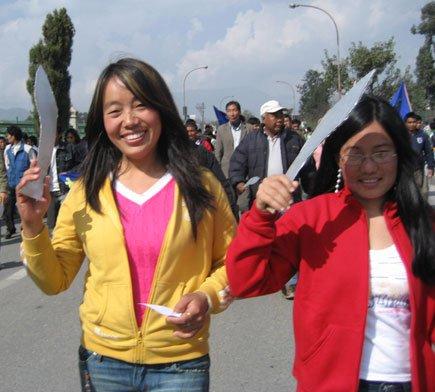 More demonstrators carrying symbolic kukris. 2007.
