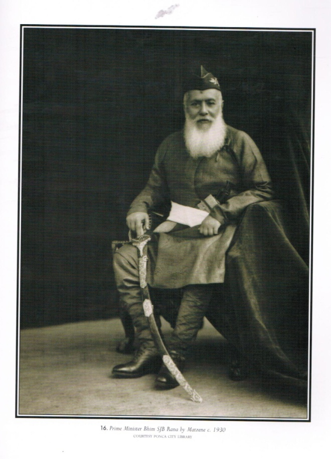 Prime Minister Bhim Shumsher, circa 1930.  Note the kukri prominently displayed in his belt.  In Nepal the kukri was an important symbol of political leadership.