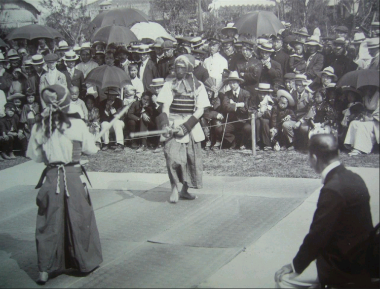 Kendo in Shanghai, pre-1920.  Period reprint of a vintage photograph.  Original photographer unknown.