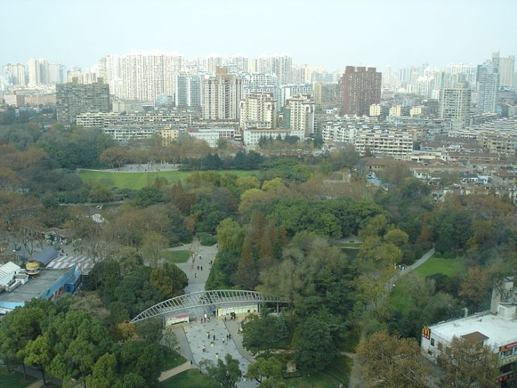 An overhead view of Zhong Shan park in Shanghai.   Source: Wikimedia.