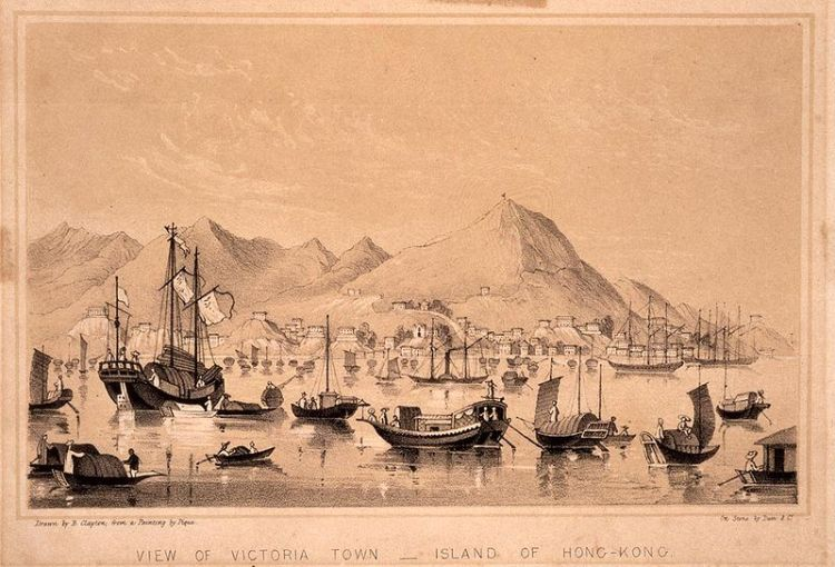 View of Victoria Town, Island of Hong Kong, 1850.  Source: Wikimedia.