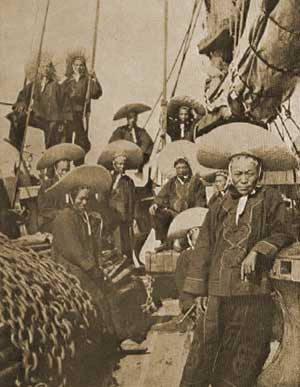 19th century Chinese sailors aboard their vessel.
