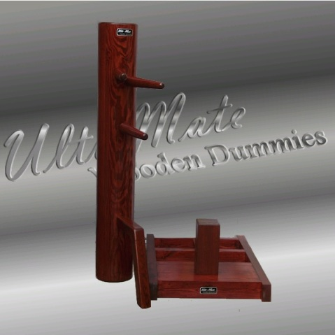 An example of a free standing wooden dummy produced by by Ulti-mate in the UK. This firm also has a full line of traditional hanging jongs. Source: http://www.ulti-mate-wooden-dummies.com/quickremovabledummy.html
