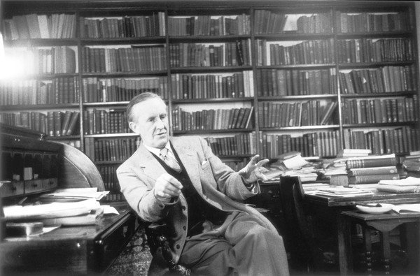 Professor Tolkien at Oxford University.  Incidentally this is what an academic office is supposed to look like!
