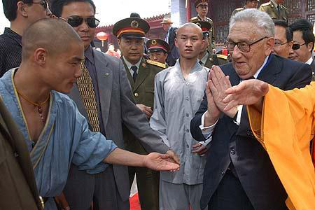 """Former American Secretary of State (and the man who engennered Nixon's """"Opening to China"""" as National Security Advisor) Henry Kissinger visits the Shaolin Temple."""