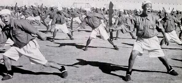 Troops from the Ma Clique train with Dadao, probably in north western China.  Photographer unknown.  Notice that most of the individuals in this formation are very young and also lack any form of rank or insignia on their uniforms.  I suspect that these are raw recruits or members of a paramilitary group.