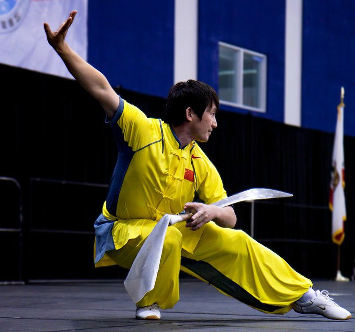 """Chinese competitor at the unofficial 2008 Olympic Wushu """"Exhibition"""" in Beijing."""