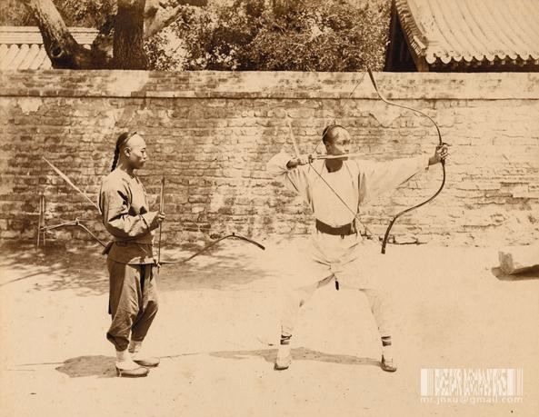 A pair of Chinese archers.  Late 19th century.  Original source unknown.