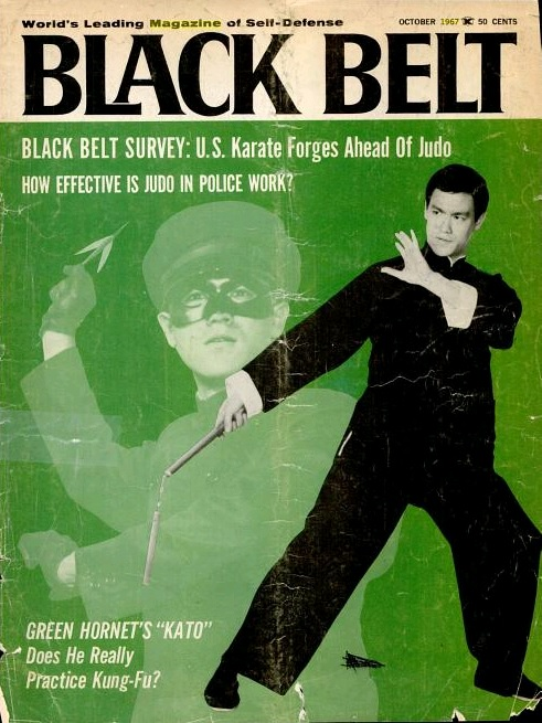 Bruce Lee's first apearance (of many) on the cover of Black Belt Magazine.  October, 1967.