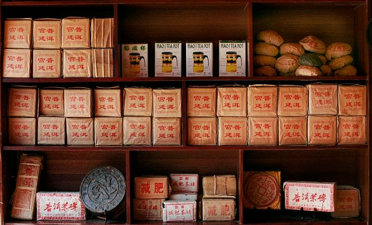 An assortment of Chinese teas.  Source: Wikimedia.