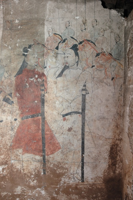 Mural showing two guards with swords at the opening to a 1500 year old Norther Qi dynasty tomb in Shuozhou City, Shanxi Province.  Source: