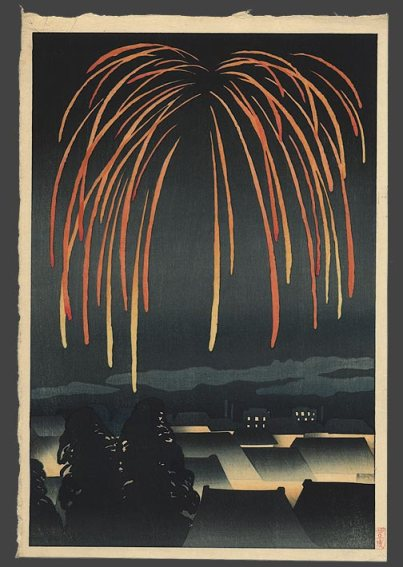 A more modern Japanese print showing summer fireworks.  Artist unkown (at least to me).