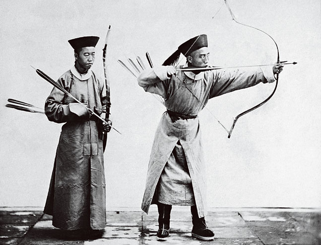 Manchu Archers. 1872 by John Thompson.  Source: National Library of China.