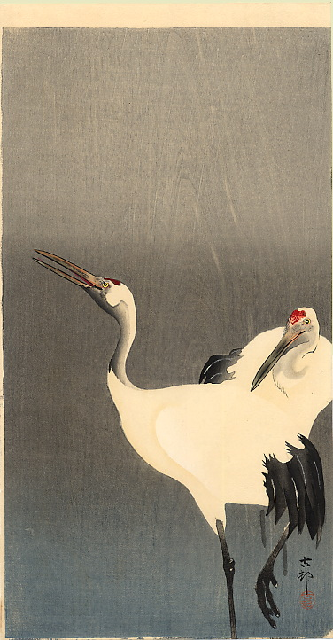 Two White Cranes by Ohara Koson ca. 1910.  Source: Wikimedia.