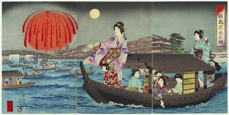 Women on a boat watching fireworks.  19th century Japanese woodblock print.
