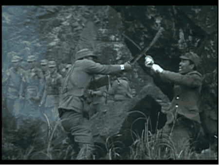 A scene from the ROC movie Heroic Martyrs Remembered for a Thousand Years showing the Chinese Big Knife winning over the Japanese Katana.  Source: Brian Kennedy.