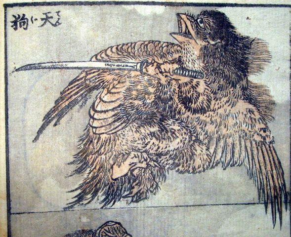 An image of a low ranking minor Tengu by Hokusai.  Source: Wikimedia.