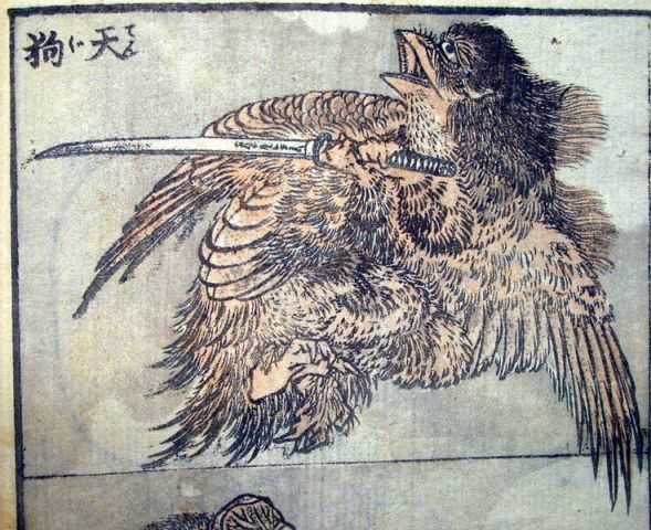 An image of a low ranking minor Tengu by Hokusai.  Source: Wikimedia.