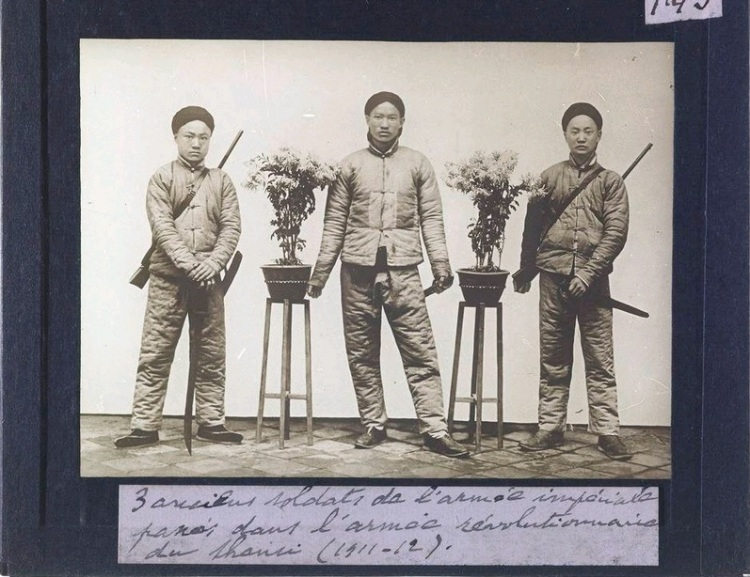 """Three Soldiers from the old Imperial Army who have jointed the Revolutionary Army."" by Fr. Michel De Maynard.  Source: Getty Archive."