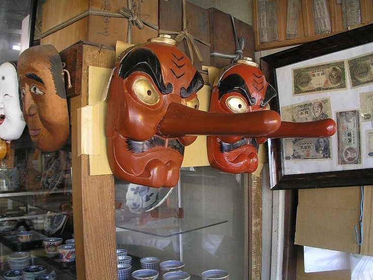 Tengu masks at a shop in Japan.  Source: Wikimedia.
