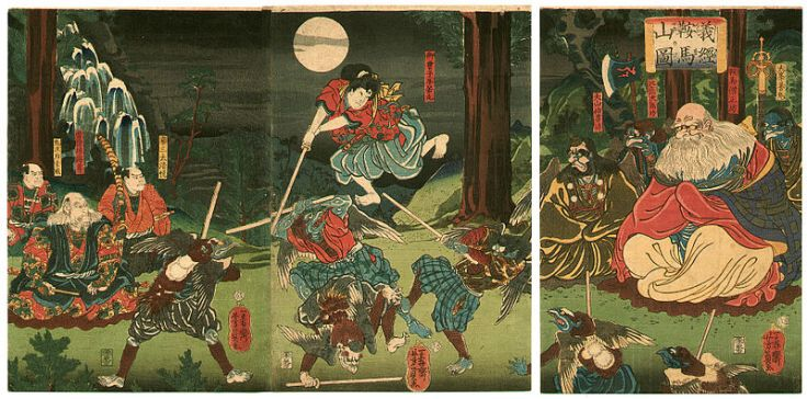 Ushiwara Maru training with the Tengu, who were reputed to be masters of swordsmanship.  By Yoshikazu Utagawa.  Source: Wikimedia.