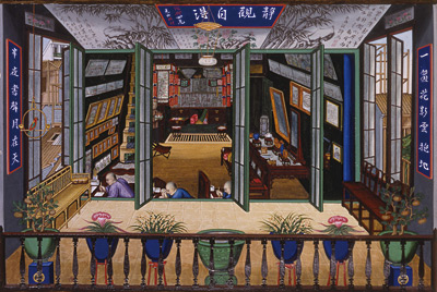 A very high quality export painting, probably early 19th century.  It shows a shop where these images were produced and sold.  Note the more expensive pieces framed western in the western style on the walls.  This image provides a fascinating look back onto the creation on export image during the late Qing dynasty.