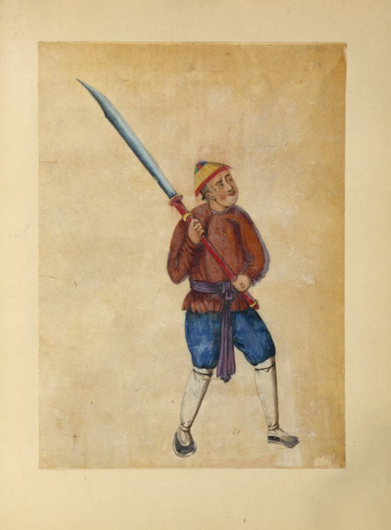 """Image of a man holding a """"horse knife."""" Guangzhou, mid 19th century. Source: Digital Collections of the New York Public Library."""