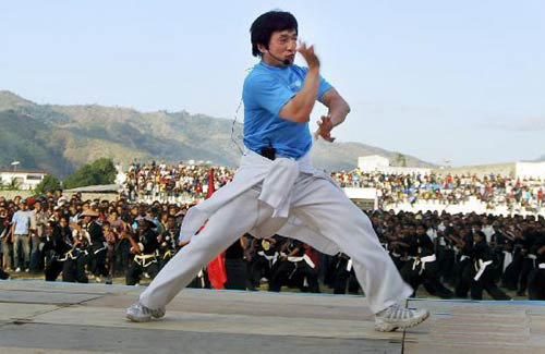 Jackie Chan lead a martial arts demonstration outside of Dili in 2008.  Source: www.china.org.cn