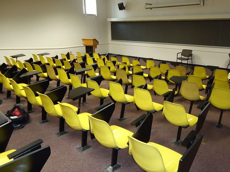 Yellow chairs at Rutgers University.  Source: Wikimedia.