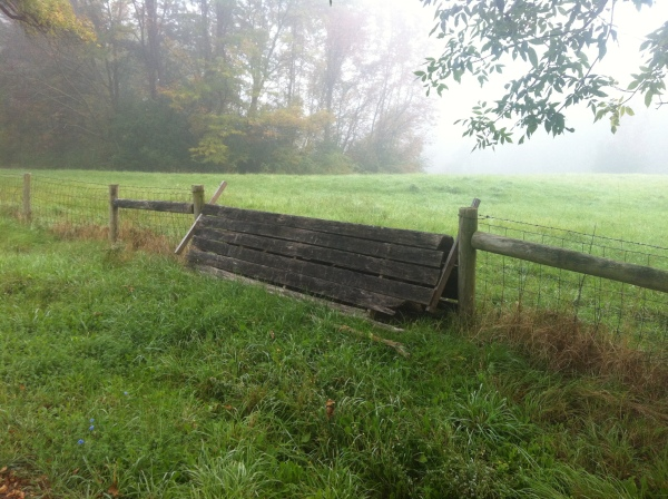 A horse jump designed to let foxhunters safely cross a barbwire fence.  Source: Photo by Benjamin Judkins.  Author's Personal Collection.
