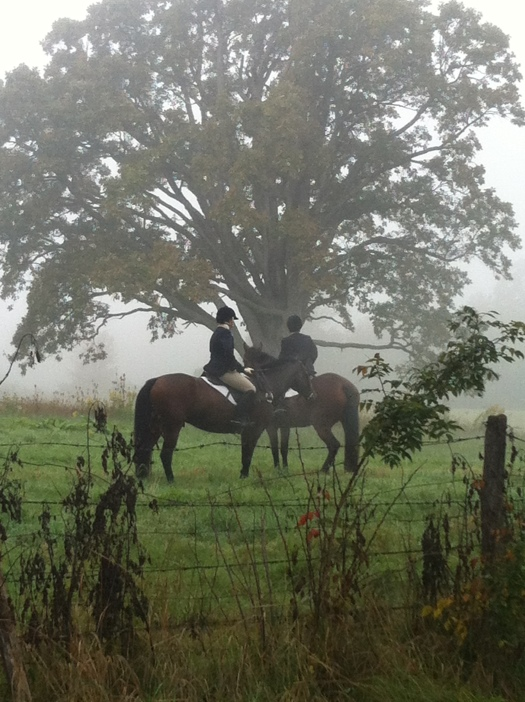 Two riders from the Genesee Valley Hunt (the oldest Foxhunt in North America) on a misty fall morning.  Source: Photo by Benjamin Judkins.  Author's personal collection.