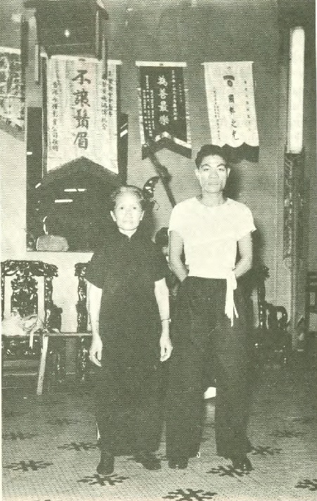 Mok Kwai Lan posing with a student.  She is 68 in this photograph.,  Source: Real Kung Fu Vol. 1 Number 7.