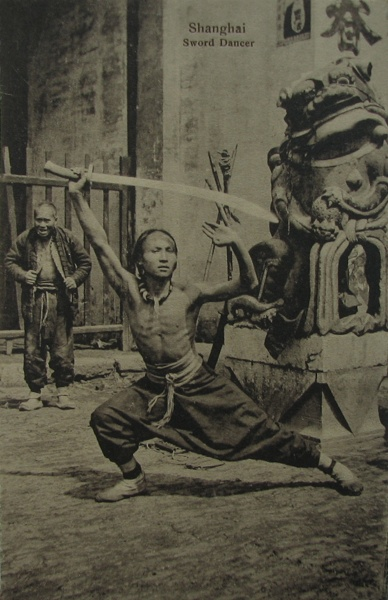 """Sword Dancer.""  Image circa 1910, distributed circa 1930.  Source"" Vintage Postcard."