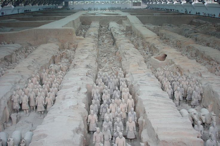 The actual Terracotta Army archeological site.  Source: Wikimedia.
