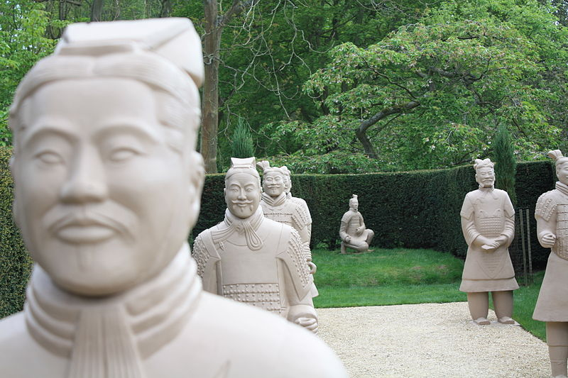 Copies of the ancient Terracotta Soldiers arranged as modern sculptures.  Source: Wikimedia.