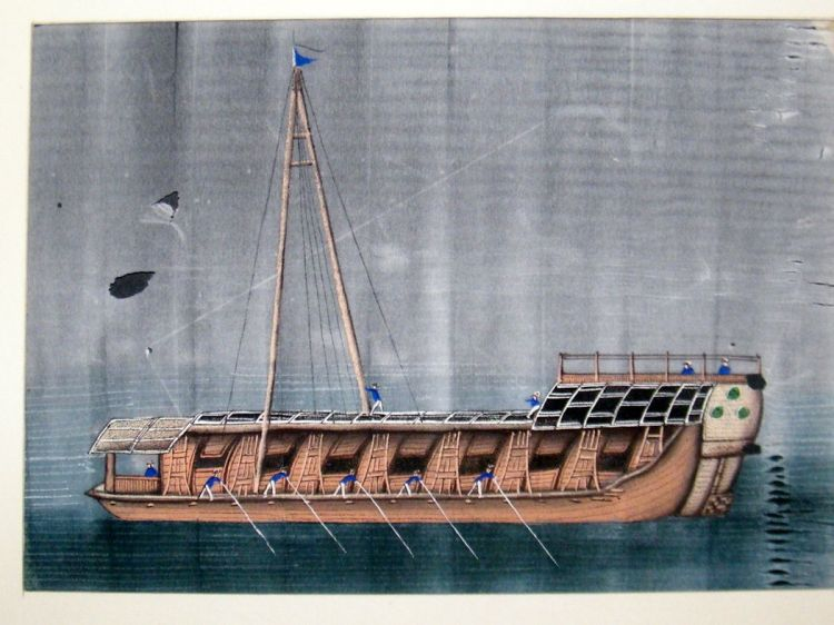"A watercolor on pith image of a river vessel of the same or a similar type which was eventually adopted for the ""Red Boats.""  Likely painted in Guangzhou during the mid 19th century.  Source: Author's personal collection."