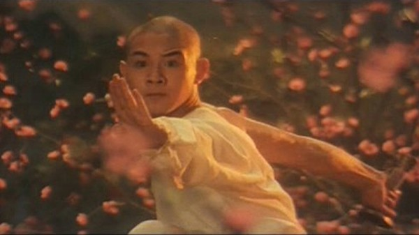 A still of Jet Li from Shaolin Temple.
