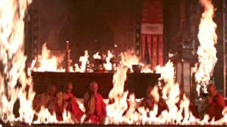 The temple in flames.