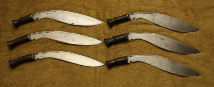 "An assortment of ""Long Leaf"" Nepalese Military Kukri from the author's personal collection."