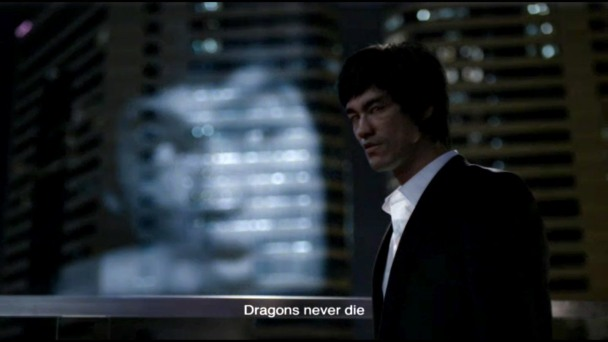 A still frame from the highly controversial 2013 Johnnie Walker advertisement featuring a digitally rendered Bruce Lee re-imagined as a some sort of real estate tycoon.
