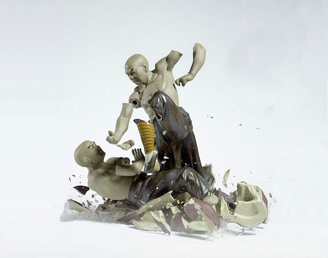Breaking ceramic action figure by Martin Klimas.  Source: http://www.whudat.de/exploding-porcelain-action-figures-by-martin-klimas-7-pictures/