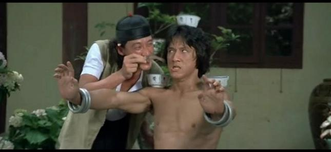 A still frame from Drunken Master.