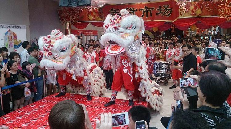 Lion Dancers in New York.  Source: Wikimedia.  Photo by ProjectManhattan.