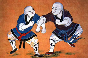 A detail of the restored Qing era murals at the Shaolin Temple.