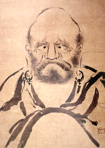A painting of Bodhidharma by the renown Japanese swordmaster, Miyamoto Mushashi. Source: http://www.musashi-miyamoto.com