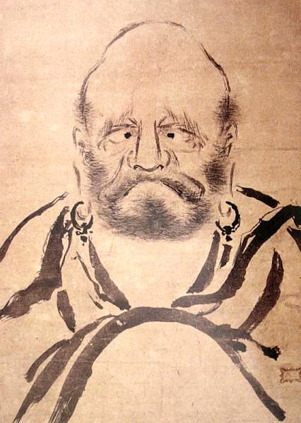 A painting of Bodhidharma by the renown Japanese swordmaster, Miyamoto Mushashi. Source: http://www.musashi-miyamoto.com