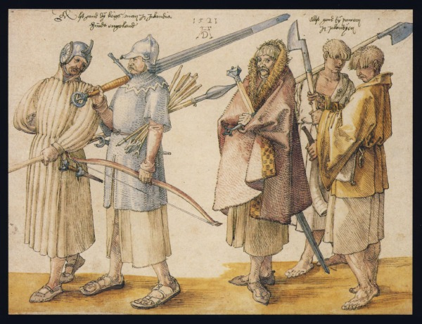"""This is the attire of soldiers and peasants in Ireland, beyond England."" Albrecht Dürer, 1521"