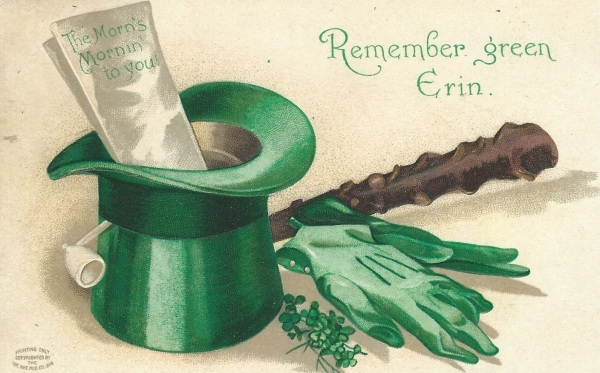 Vintage American St. Patrick's Day Postcard.  Probably early 1920s.  An expression of idealized Irish national identity within an immigrant community.